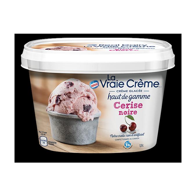 REAL DAIRY Crème glacée à la cerise noire, 1,5 litre.