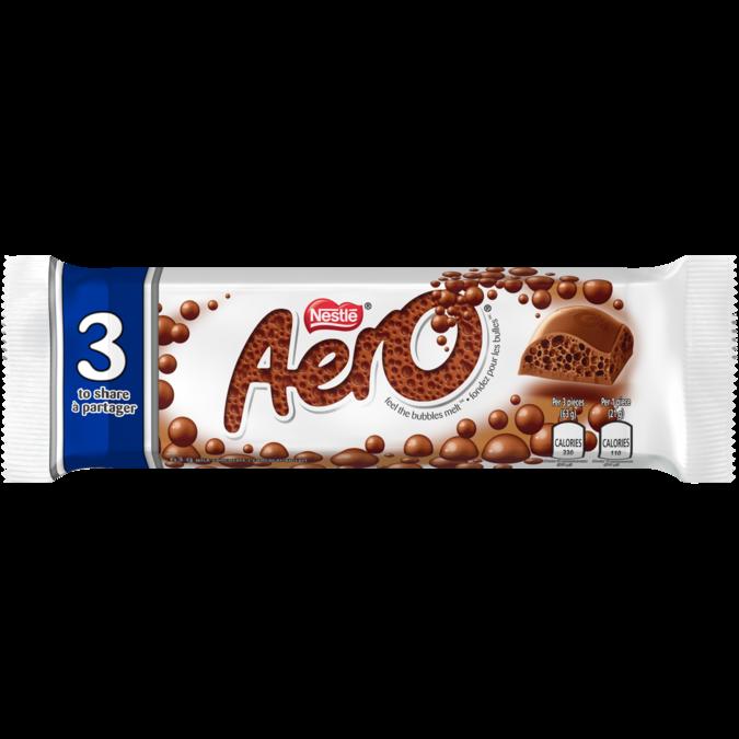 Tablette de chocolat AERO 3 pièces à partager, 63 grammes.
