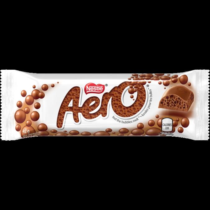 Barre de bulles au chocolat au lait AERO, 42 grammes.