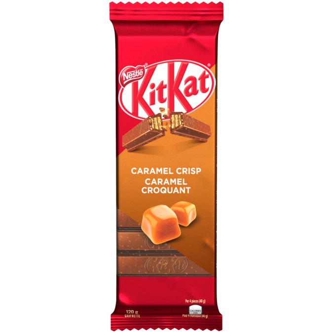 KIT KAT Chocolate Caramel Crisp, 120 grams.