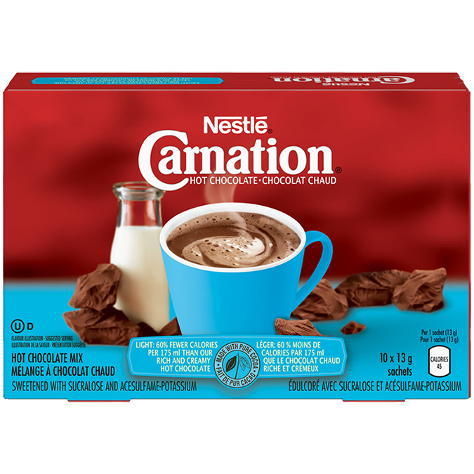 CARNATION Hot Chocolate Light Powder, 10 x 13 grams sachets.