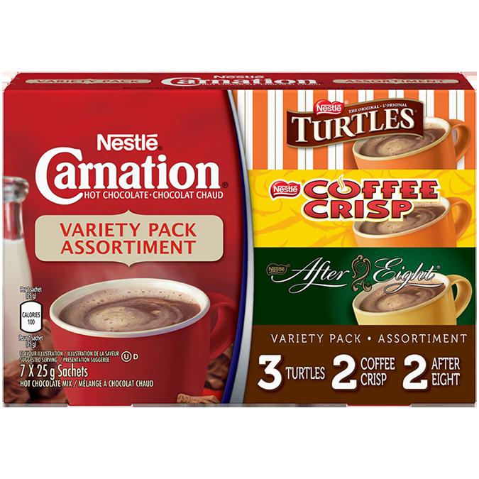 CARNATION, Poudre de chocolat chaud aromatisé, 7 sachets de 25 g.