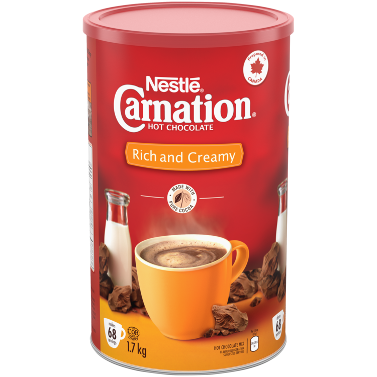 CARNATION Rich and Creamy Hot Chocolate Powder. 1.7 kg makes 68 servings.