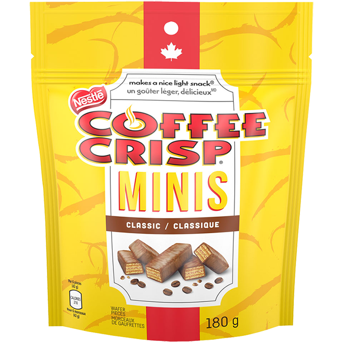 NESTLE COFFEE CRISP, Chocolate Minis, sachet refermable, 180 grammes.