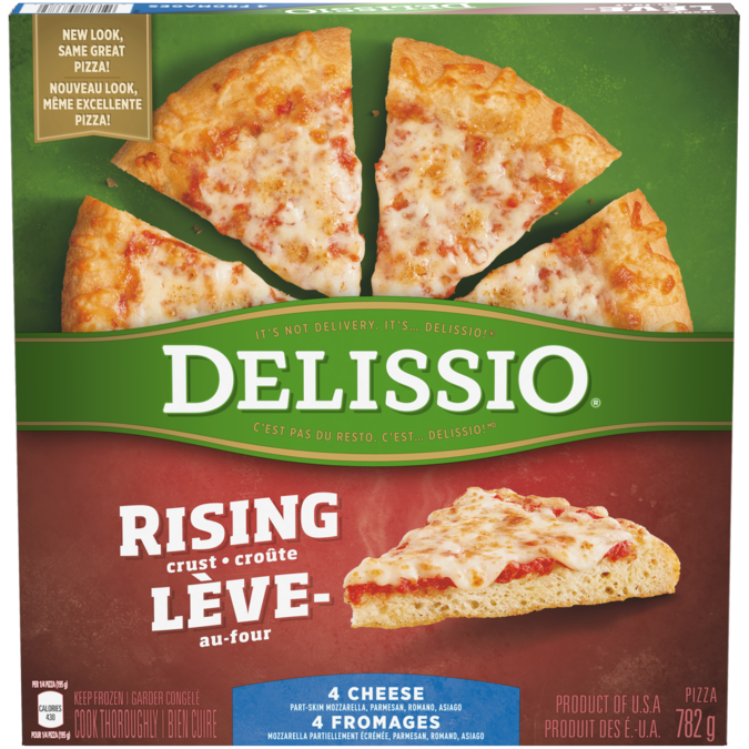 DELISSIO Rising Crust 4 Cheese pizza, 782 grammes.