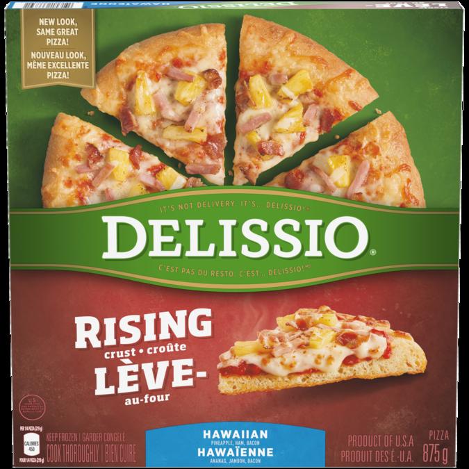 DELISSIO Rising Crust Hawaiian Pizza, 875 grams.