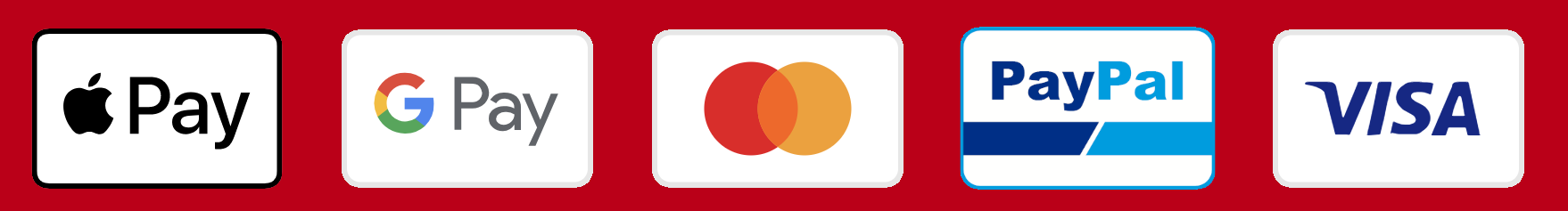 Apple Pay Google Pay MasterCard Visa