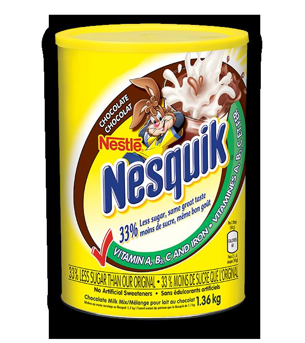 NESQUIK Chocolate Milk Mix, with 33% less sugar, same great taste, 1.36kg