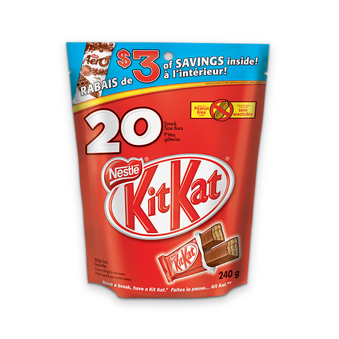 KIT KAT snack sized chocolate bars, pack of 20 bars, 240 grams.
