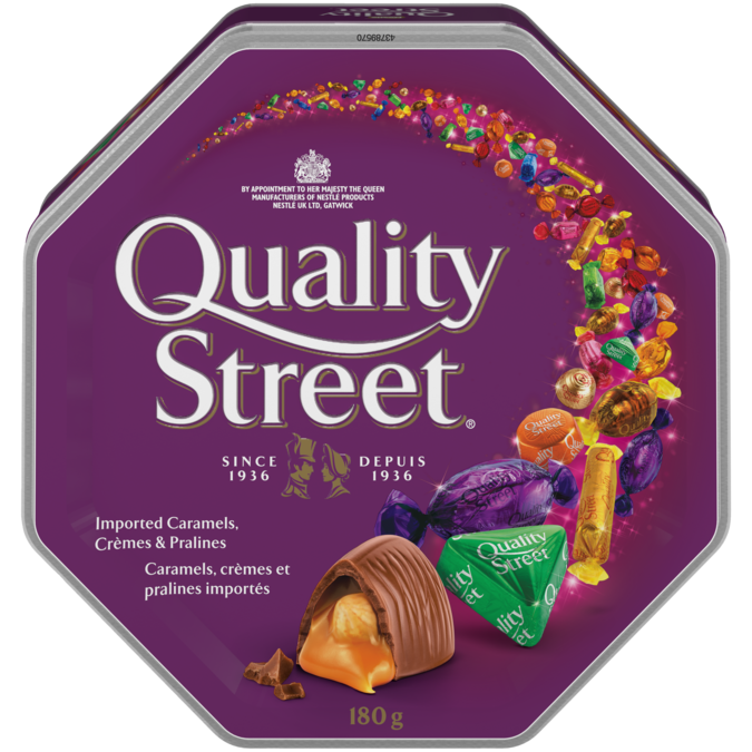 QUALITY STREET Celebration Tin, 180 grams. Assortment of caramels, crèmes, and chocolate pralines.