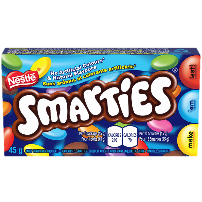 SMARTIES candy-coated milk chocolate. 45 grams.