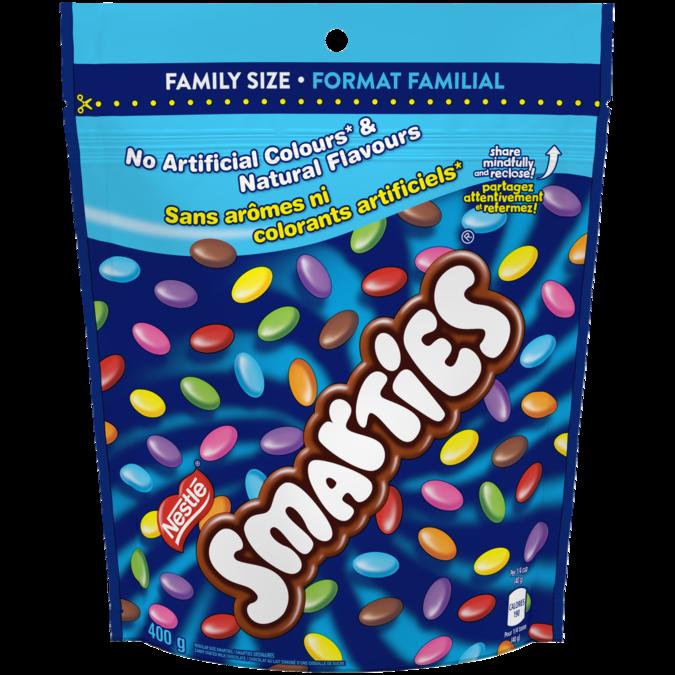 Chocolat au lait enrobé de bonbons SMARTIES, sachet refermable, 400 grammes.