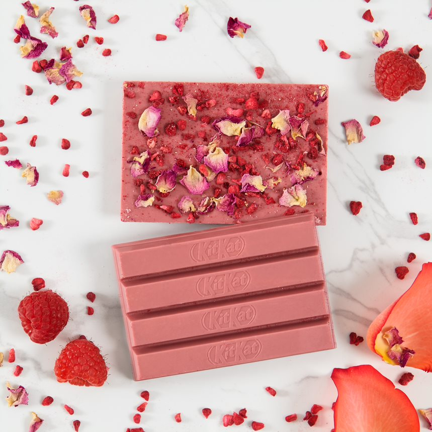 KIT KAT Chocolatory Special Edition Flavour Stop & Smell the Roses. Ruby chocolate with raspberries and rose petals.