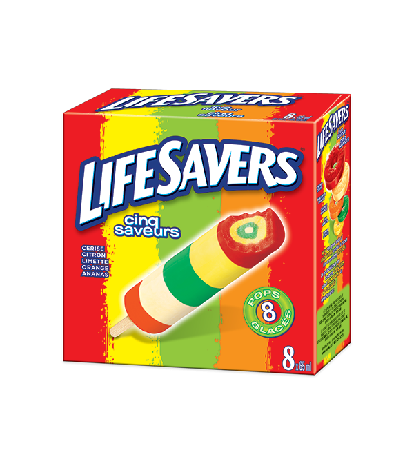 LIFESAVERS Cherry, Lemon, Lime, Orange, and Pineapple-flavored ice pop. 8 x 65 ml portions.