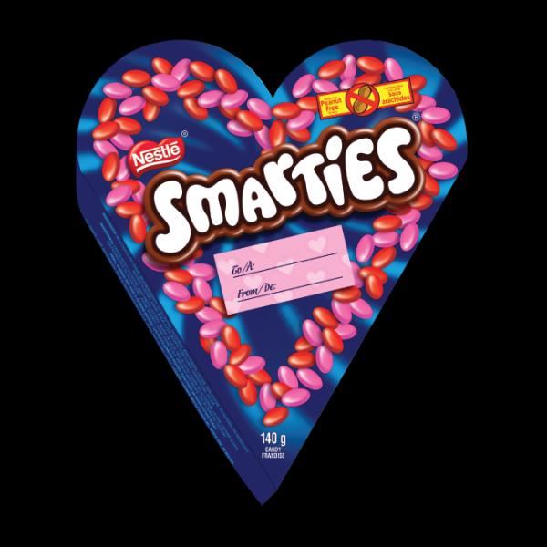 Boîte en forme de cœur de chocolats SMARTIES, parfaite pour les friandises de la Saint-Valentin
