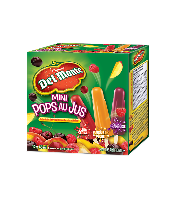 DEL MONTE, Mini Juice Pops. 12 x 45 ml. Assortiment de saveurs de vrais fruits.