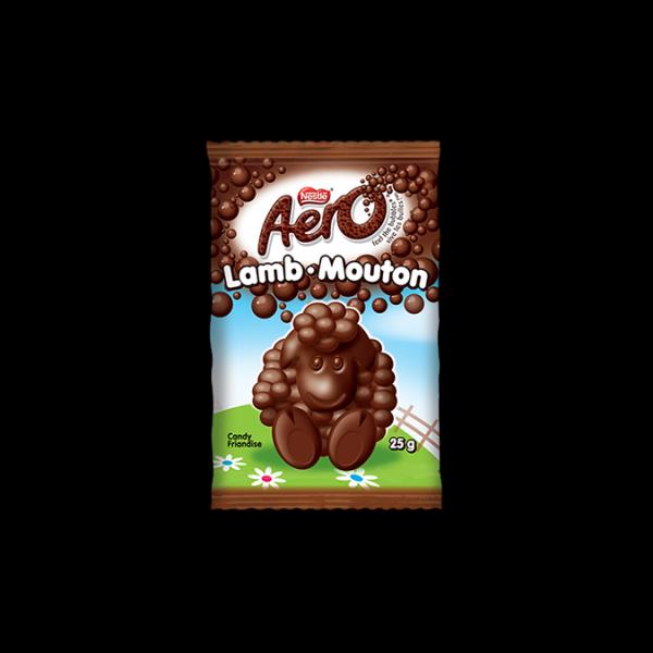 Barre de chocolat au lait en forme d'agneau AERO, 25 grammes.