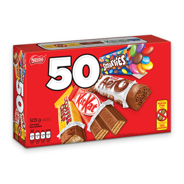 NESTLE Minis 50 count with KIT KAT, AERO, SMARTIES and COFFEE CRISP.