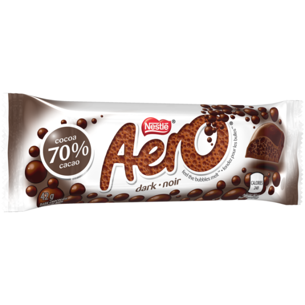 AERO Dark Chocolate Bar 70% cacao, 42 grams.