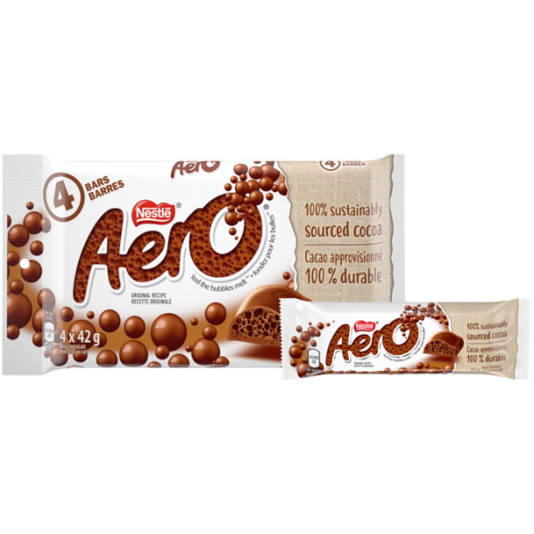 AERO Milk Chocolate, multipack, 4 x 42 gram portions. 100% sustainably sourced cocoa.