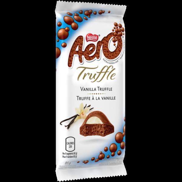 Barre chocolatée à la vanille et à la truffe AERO, 85 grammes.