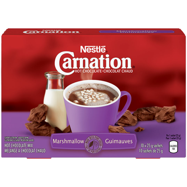 CARNATION Hot Chocolate Marshmallow Powder, 10 x 25 gram sachets.