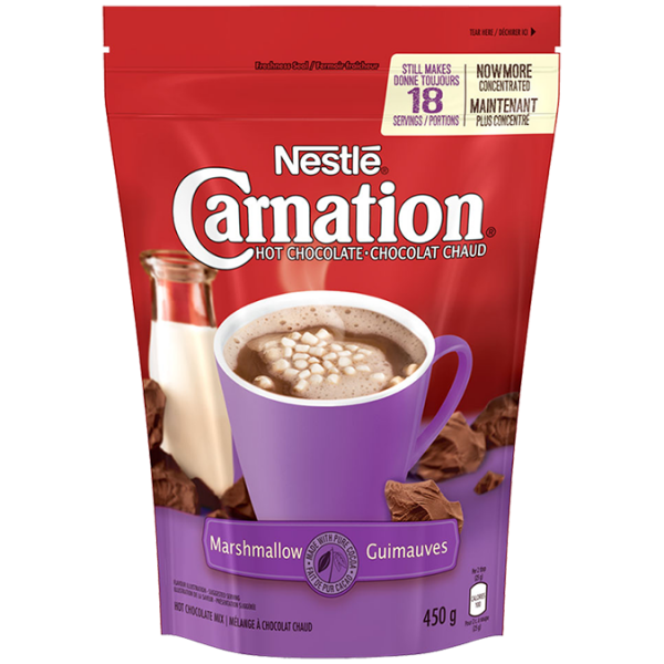 CARNATION Hot Chocolate Marshmallow Powder, 450 grams makes 18 servings.