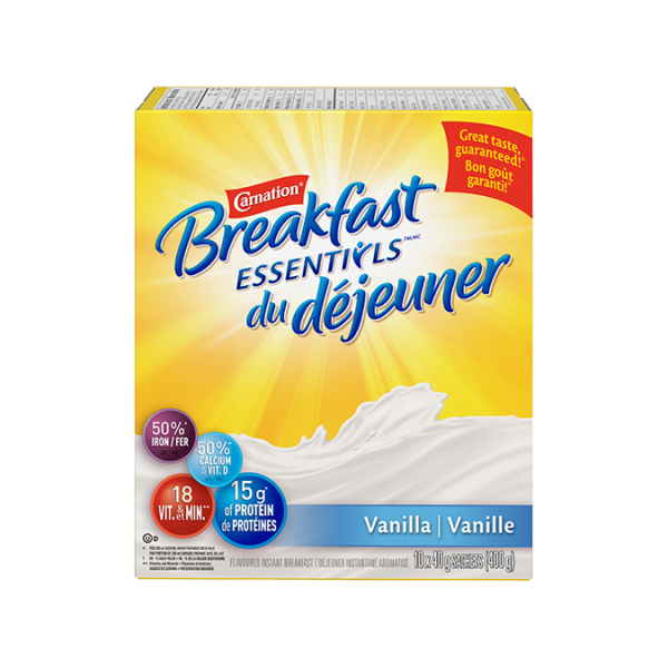 CARNATION Breakfast Essentials Vanille, portions de 10x40 grammes