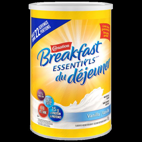 CARNATION, la poudre de vanille Breakfast Essentials, 880 grammes donne 22 portions.