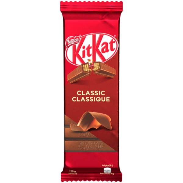 KIT KAT Classic Wafer Chocolate Bar, 120 grams.