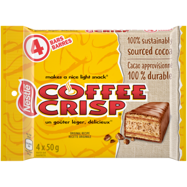 COFFEE CRISP chocolate bar, mulipack, 4 x 50 grams.