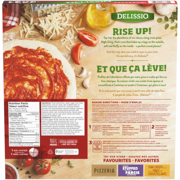 DELISSIO Rising Crust Pepperoni, Ingredients and nutritional Information.