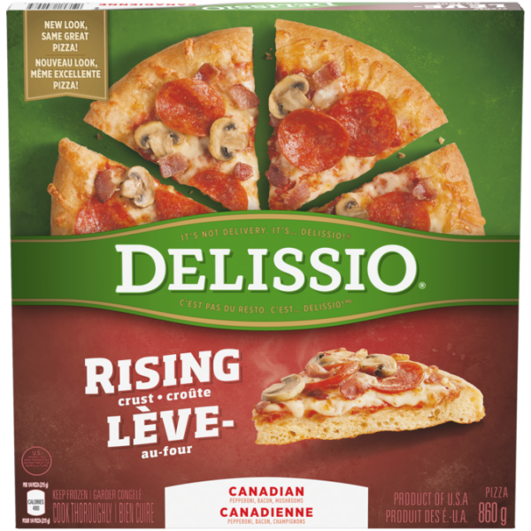 DELISSIO Rising Crust Canadian Pizza, 860 grams.
