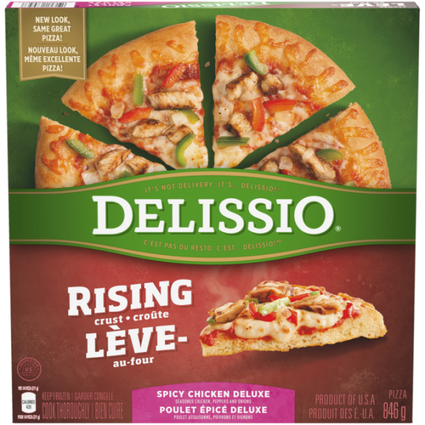 DELISSIO Rising Crust Spicy Chicken Deluxe Pizza, 846 grams.