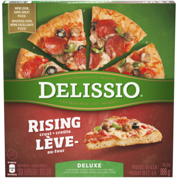 DELISSIO Rising Crust Deluxe Pizza, 888 grammes.