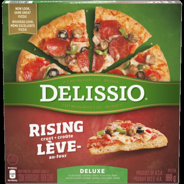 DELISSIO Rising Crust Deluxe Pizza, 888 grams.