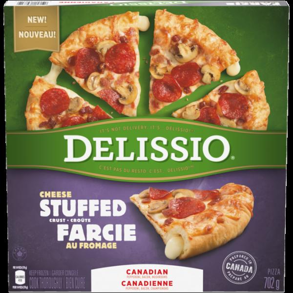DELISSIO Stuffed Crust Canadian Pizza, 702 grams.