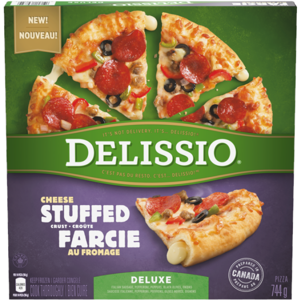 DELISSIO Stuffed Crust Deluxe Pizza, 744 grams.