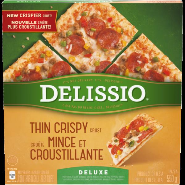 Pizza Deluxe DELISSIO à croûte mince et croustillante, 630 grammes.