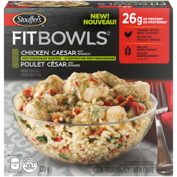STOUFFER'S Fit Bowls, Chicken Caesar with Spinach, 320 grams.