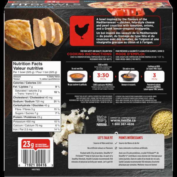 Bols Fit STOUFFER'S, poulet à la grecque, ingrédients et informations nutritionnelles.