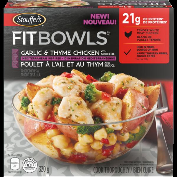 Bols STOUFFER'S Fit, poulet à l'ail et au thym avec brocoli, 320 grammes.