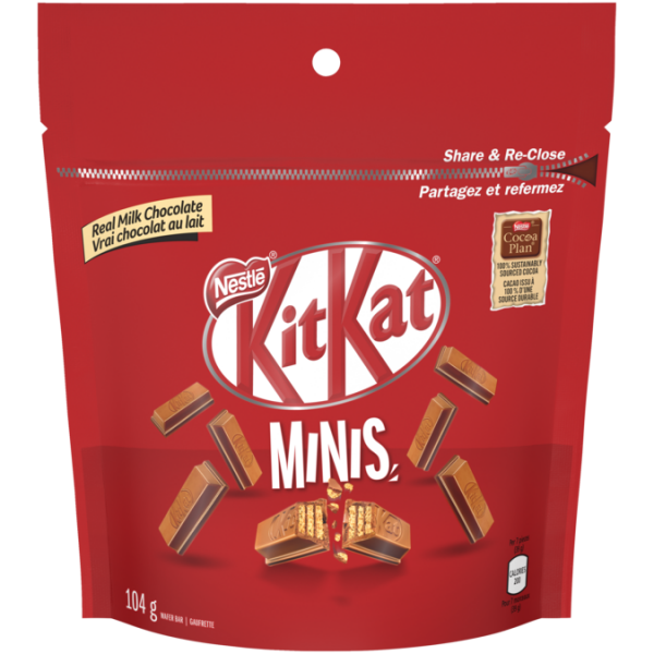 KIT KAT Chocolate Minis, Resealable Bag, 104 grams.