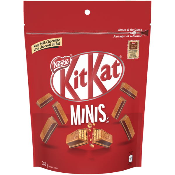 KIT KAT Chocolate Minis, Resealable Bag, 380 grams.
