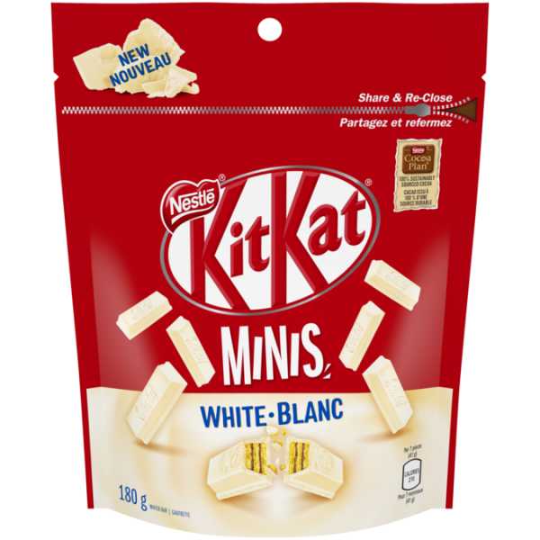 KIT KAT White Chocolate Minis, Resealable Bag, 180 grams.