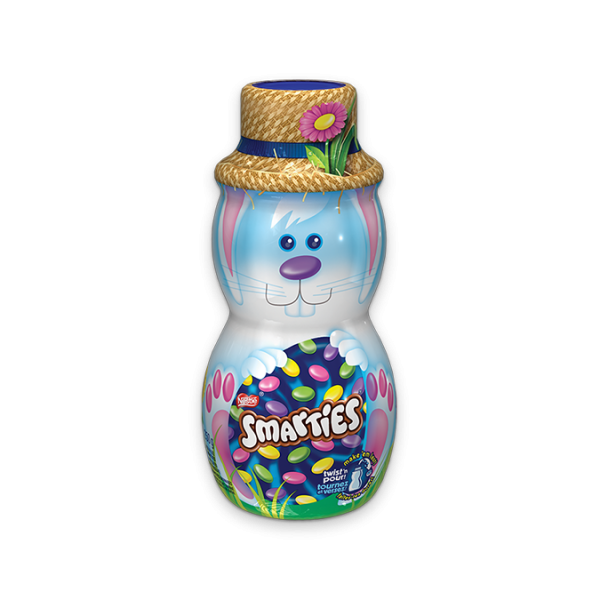 SMARTIES Candy-Coated Milk Chocolate Bunny Canister, 250 grams.