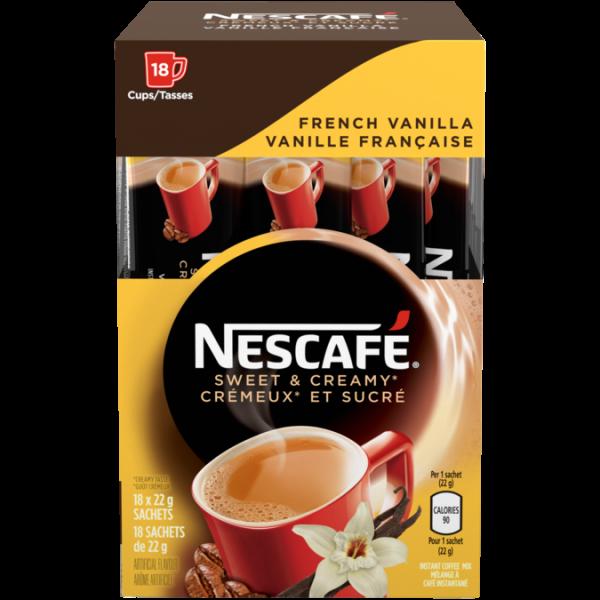 Café instantané à la vanille française sucrée et crémeuse NESCAFÉ, 18 sachets de 22 grammes.