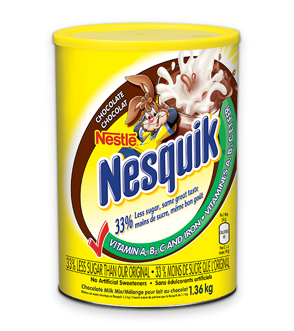 NESQUIK Chocolate Milk Mix, with 33% less sugar, same great taste, 1.36kg