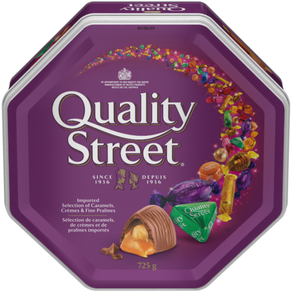 QUALITY STREET Celebration Tin, 725 grams. Assortment of caramels, crèmes, and chocolate pralines.