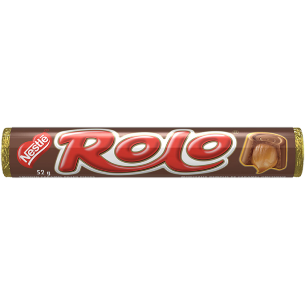 ROLO, smooth chocolate and caramel pieces, 52 grams.